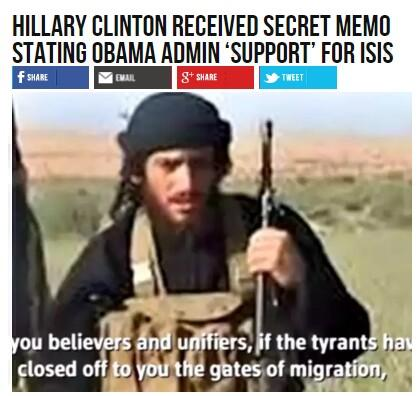 Hillarious Clinton Received Secret Memo Stating Obama Admin 'Support' for ISIS